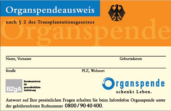 Organspendenausweis